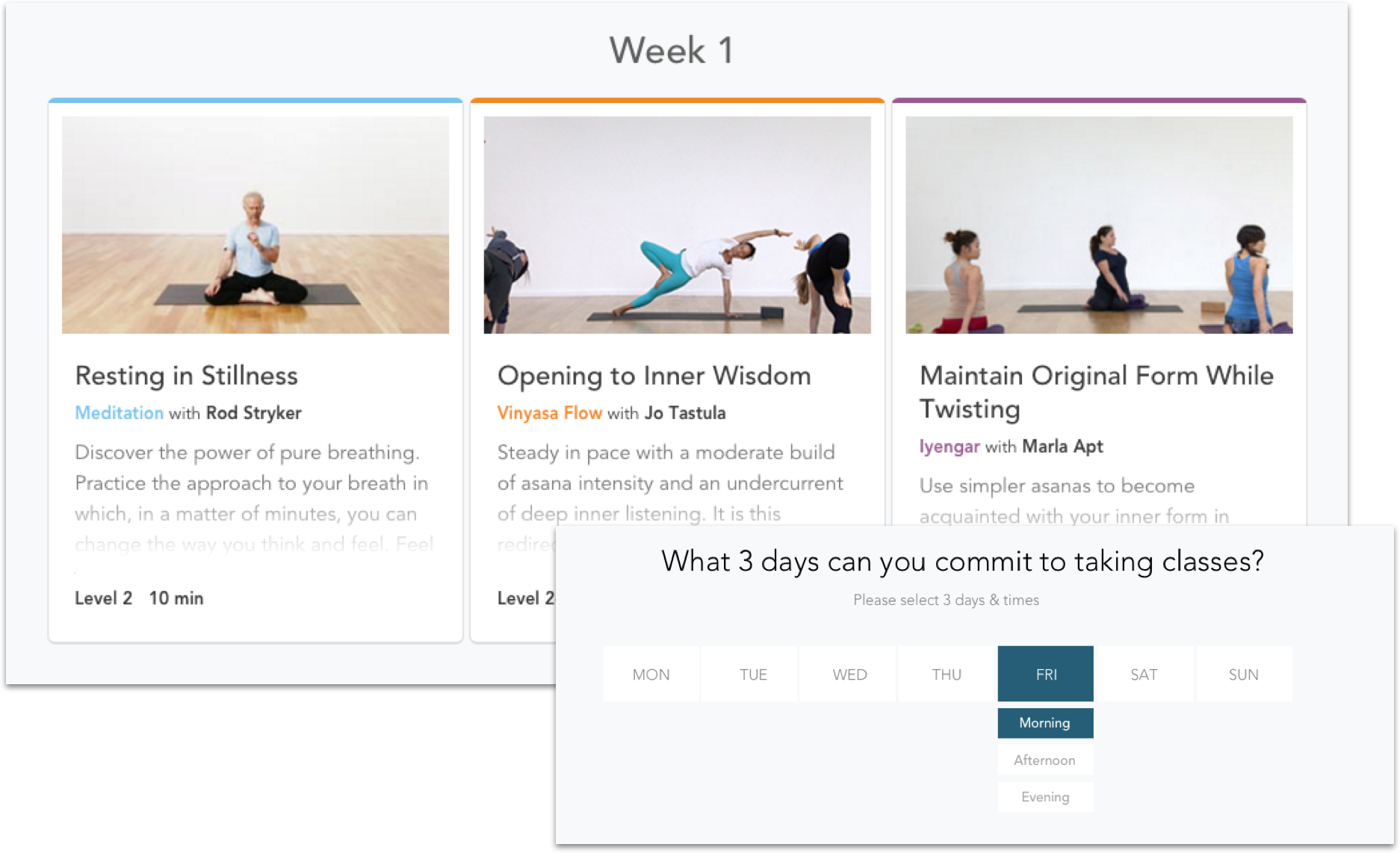 Screenshot of the program classes on YogaGlo.com